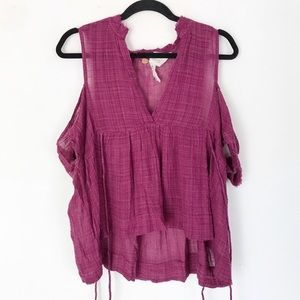 | Free People One | cold shoulder gauzy top
